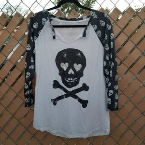 Grayson Threads Shirt White/Black Skull Pattern